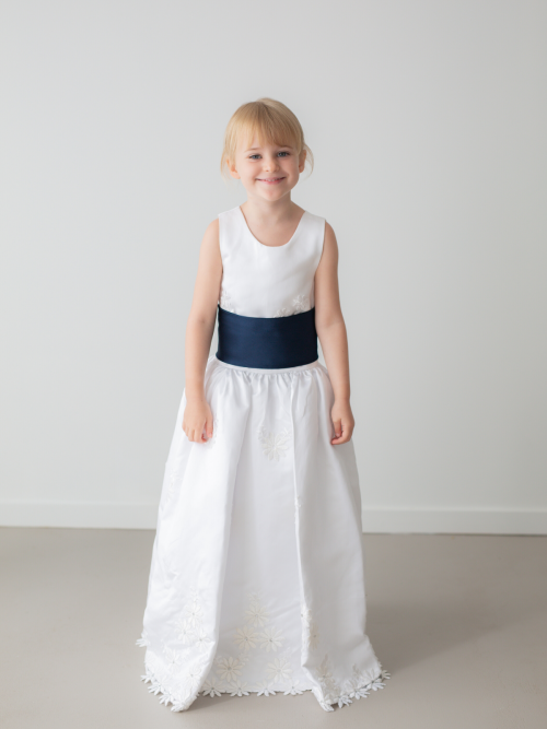 Reese White Floral Embroidered Satin Flower Girl Dress by Talia Sarah