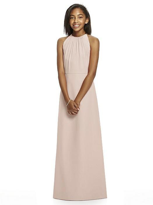 Cameo Pink Halter Crepe Junior Bridesmaids Dress
