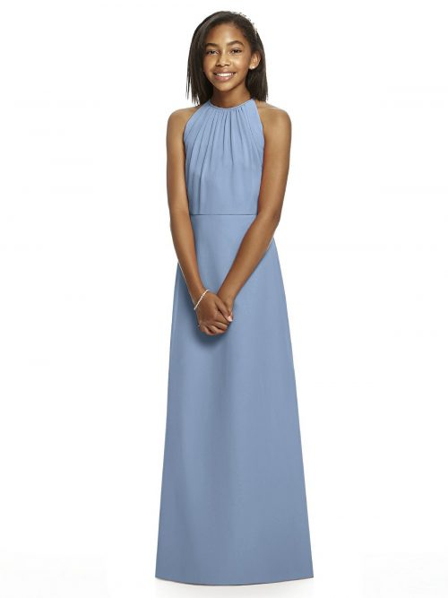 Cloudy Blue Halter Crepe Junior Bridesmaids Dress
