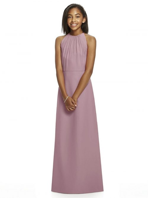 Dusty Rose Halter Crepe Junior Bridesmaids Dress
