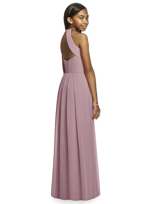 Dusty Rose Halter Crepe Junior Bridesmaids Dress