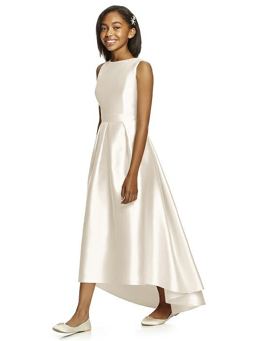 Ivory Satin High-Low Pleated Junior Bridesmaids Dress