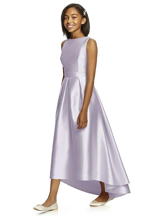 Moondance Satin High-Low Pleated Junior Bridesmaids Dress