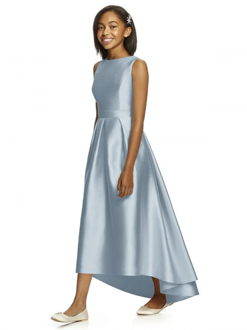 Mist Blue Satin High-Low Pleated Junior Bridesmaids Dress