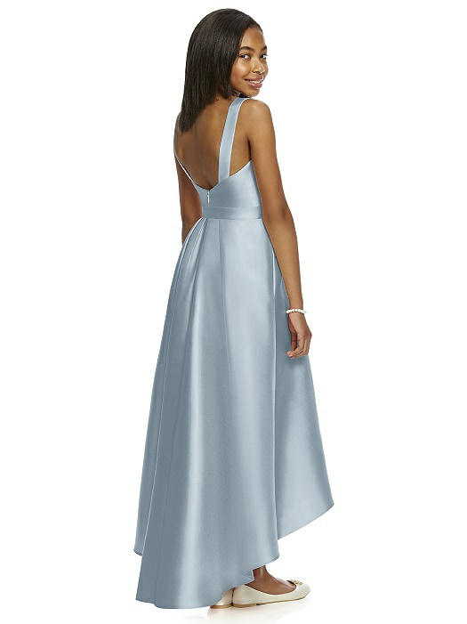 Mist Blue Satin High-Low Pleated Junior Bridesmaids Dress