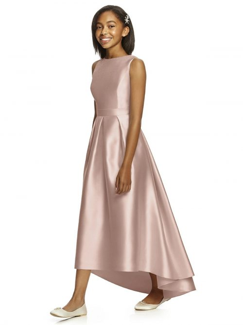 Toasted Sugar Satin High-Low Pleated Junior Bridesmaids Dress