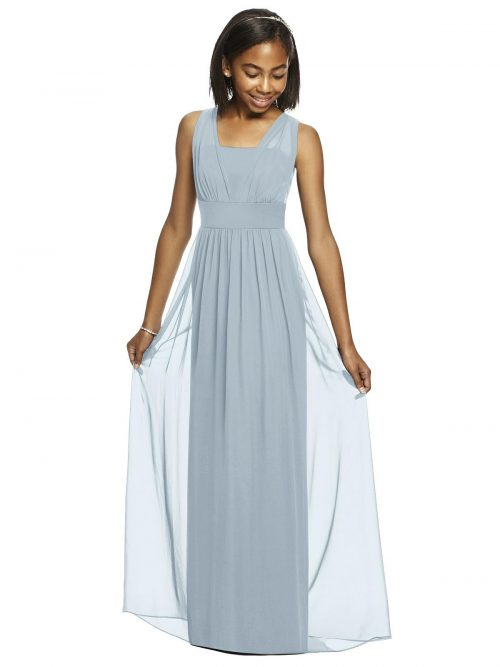 Mist Blue Shirred Bodice Chiffon Junior Bridesmaids Dress
