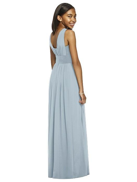 Mist Blue Shirred Bodice Chiffon Junior Bridesmaids Dress