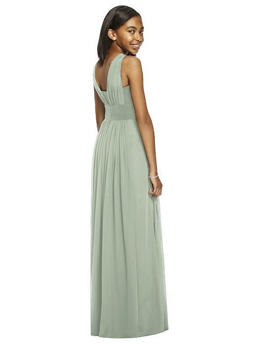 Willow Green Shirred Bodice Chiffon Junior Bridesmaids Dress