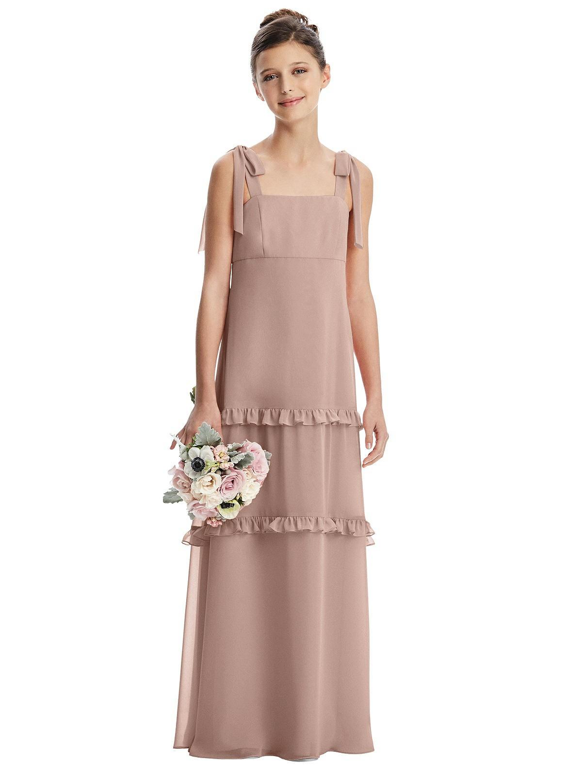 Bliss Pink Bow Strap Tiered Ruffles Junior Bridesmaids Dress
